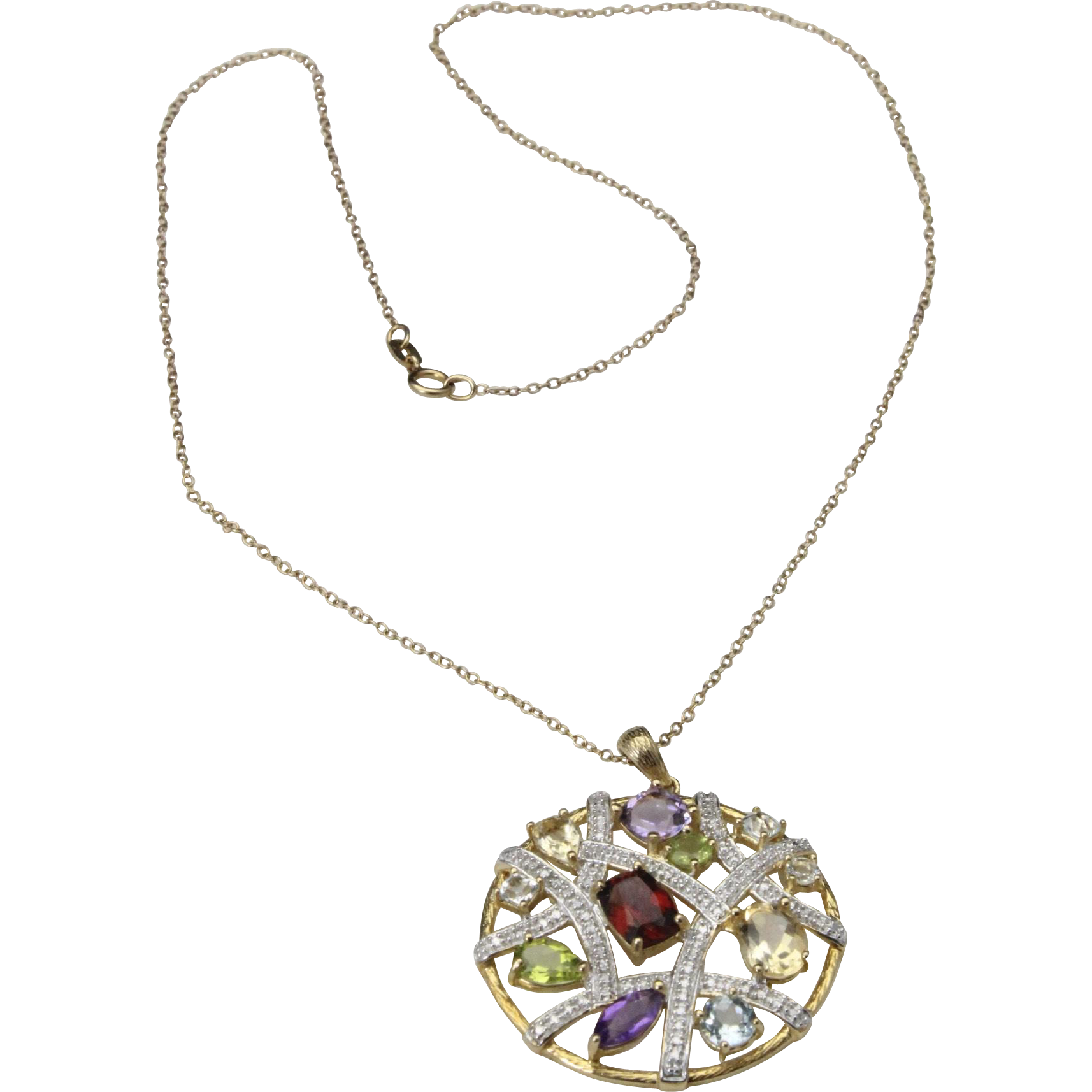 Vintage Multi Gemstone Round Pendant Necklace Sterling Silver Gold Topaz Garnet