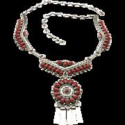 Vintage Zuni Sterling Petit Point Coral Necklace Circular Pendant Southwestern