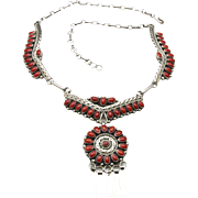 Vintage Zuni Sterling Petit Point Coral Necklace Circular Pendant Southwestern