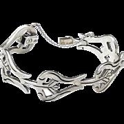 Vintage Taxco Sterling Silver Modernist Style Link Bracelet Mexico Signed