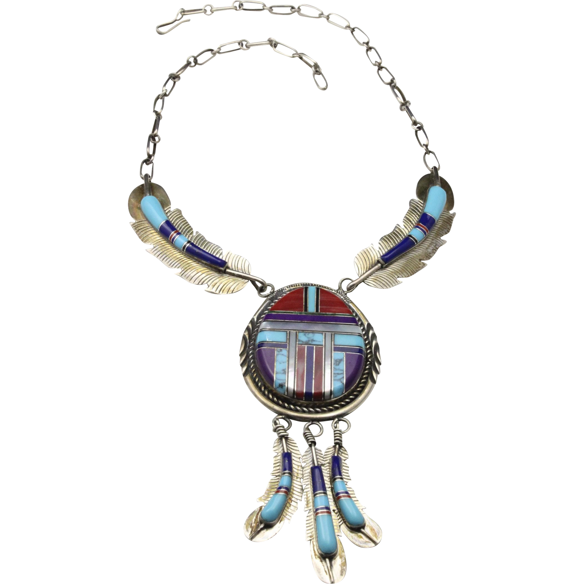 Vintage Zuni Inlay Necklace & Feather Earrings Set Silver Turquoise Onyx Coral