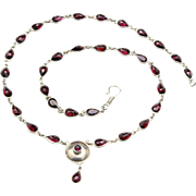 Vintage Faceted Pear Shape Garnet Chain Round Sterling Silver Pendant Necklace