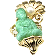 Vintage Green Jade Glass Buddha Faux Pearl and Diamond Gold Tone Brooch Pin
