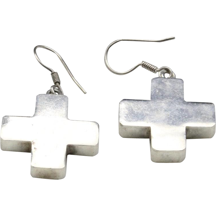 Vintage Sterling Silver Cross Dangle Earrings on French Wires Simple Modern