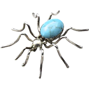 Vintage Signed Sterling Silver & Turquoise Spider Insect Brooch Pin