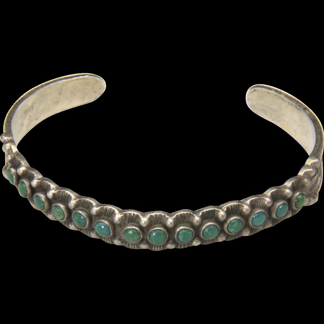 Vintage Maisels Sterling Silver Fourteen 14 Stone Turquoise Cuff Bracelet Arrow