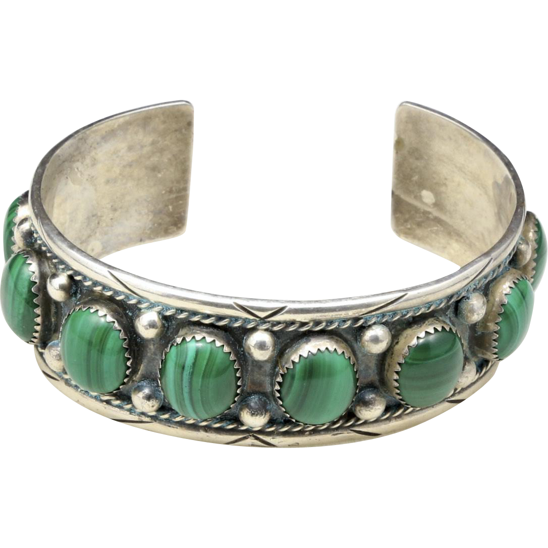 Vintage Sterling Silver and Malachite Cuff Bracelet Signed John O Hawks