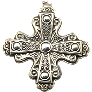 Vintage Reed & Barton 1972 Sterling Silver Christmas Cross Pendant Ornament