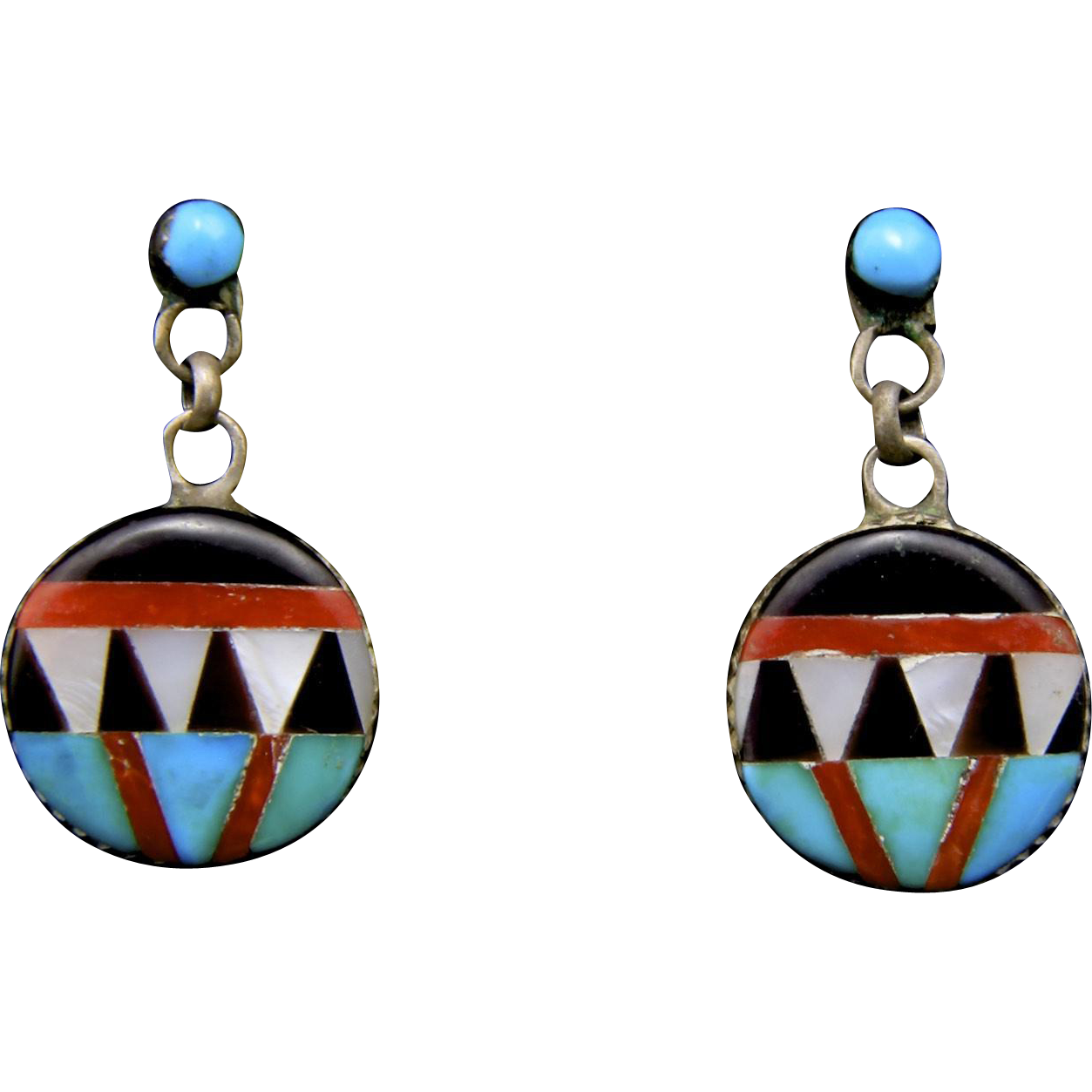 Vintage Early Zuni Inlaid Turquoise Coral Onyx Mother of Pearl Earrings