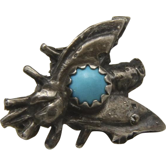 Vintage Small Sterling Silver and Turquoise Fly Insect Pin Brooch