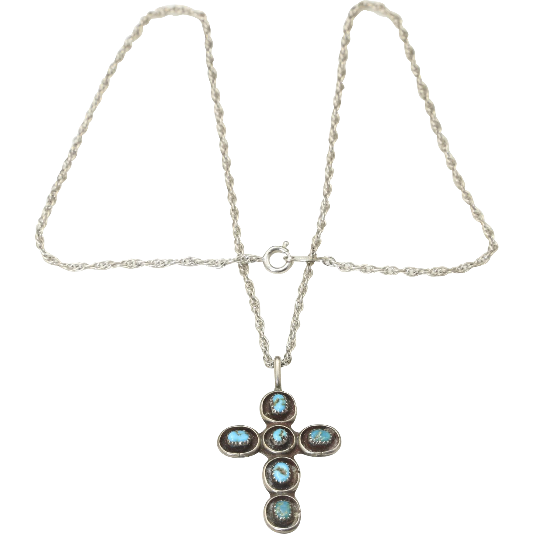 Vintage Sterling Silver Turquoise Cross Pendant & Chain Necklace Southwestern