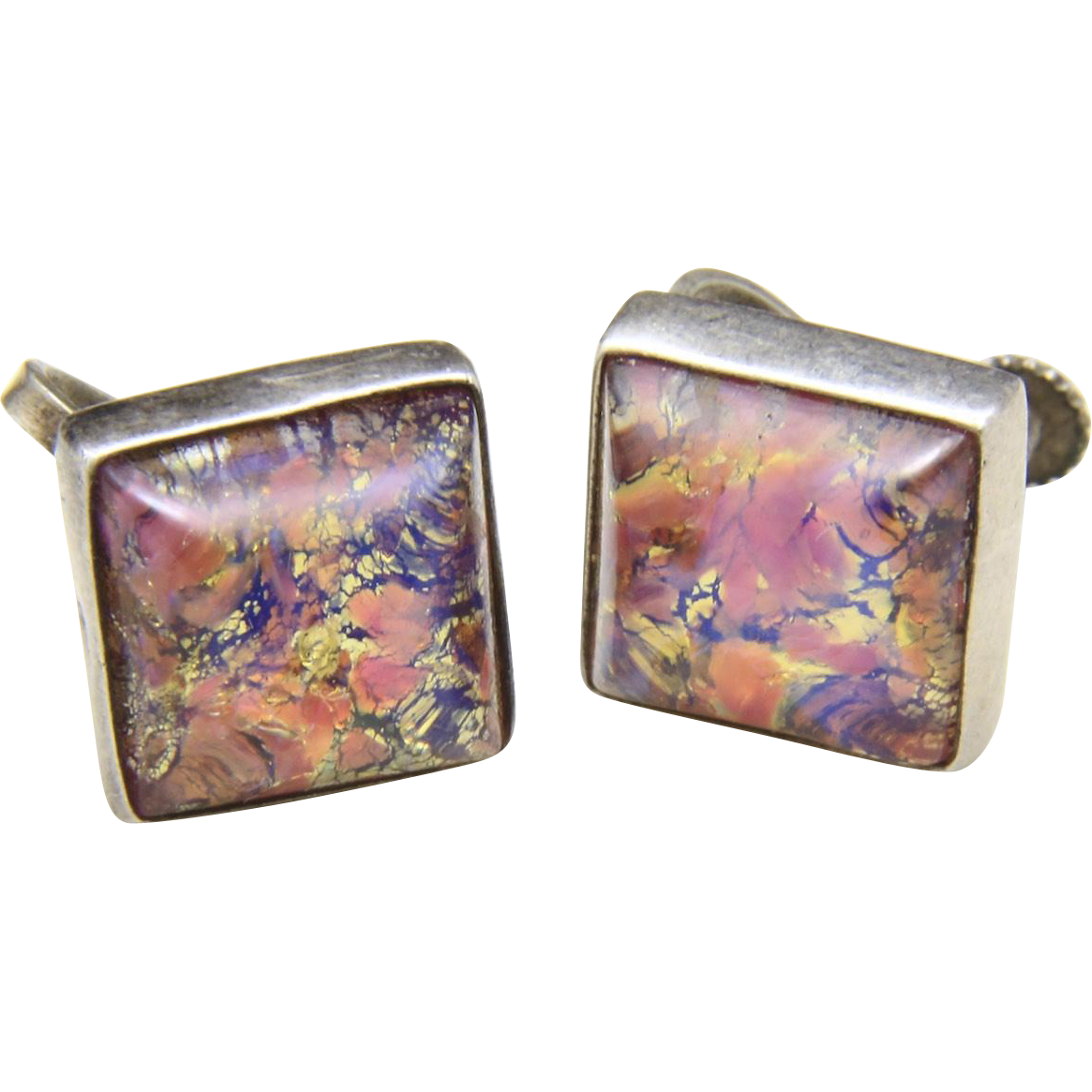 Vintage Mexico Sterling Silver & Square Confetti Opal Screw-Back Earrings Signed