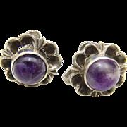 Vintage Taxco Sterling Silver and Amethyst Flower Screw-Back Earrings