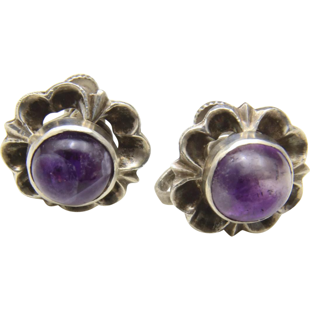 Vintage Taxco Sterling Silver and Amethyst Flower Screw-Back Earrings