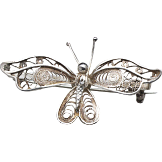 Vintage Sterling Silver Filigree Butterfly Pin Brooch