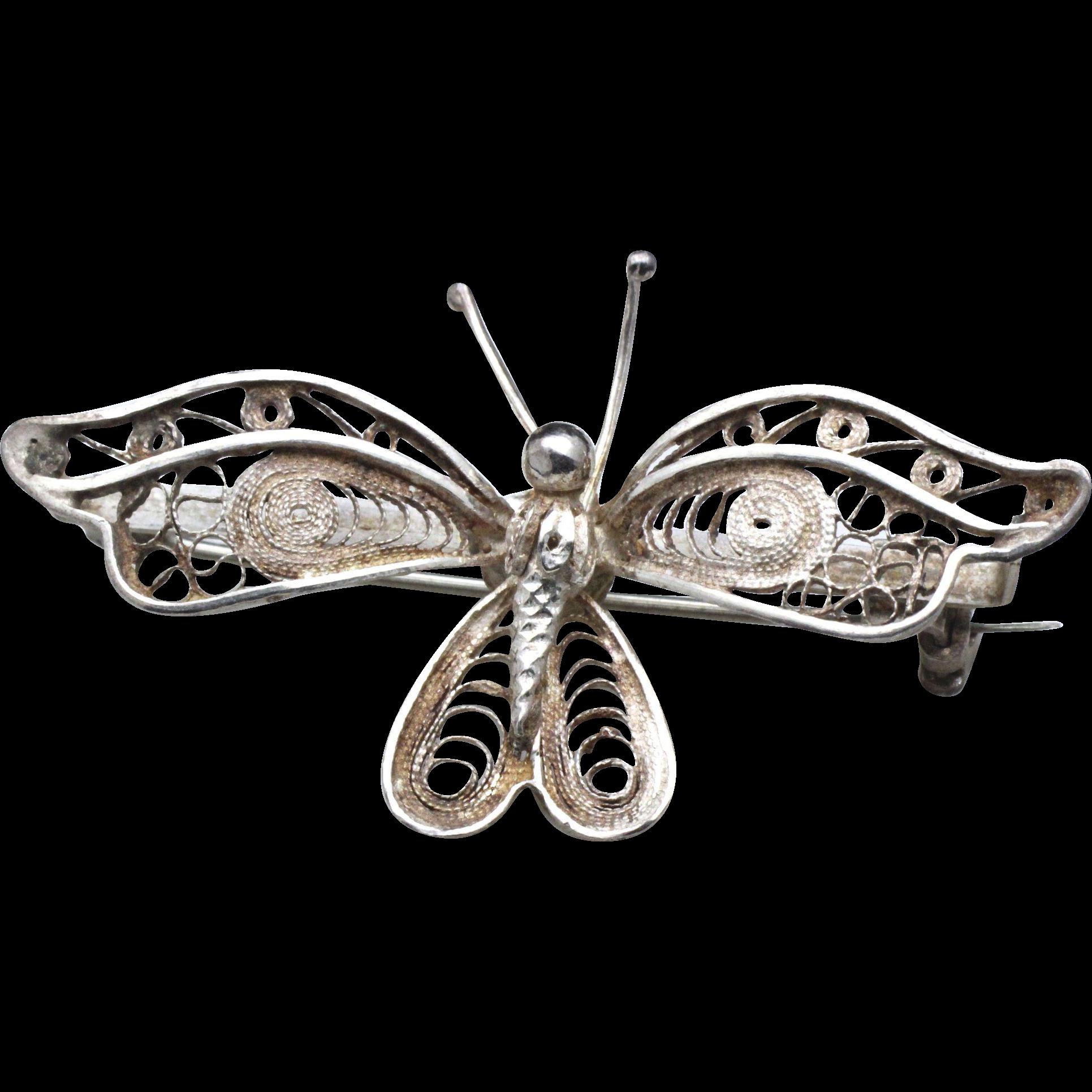 Vintage Sterling Silver Filigree Butterfly Pin Brooch