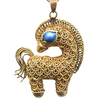 Vintage Chinese Export Gold Wash Sterling Silver Filigree & Enamel Horse Pendant