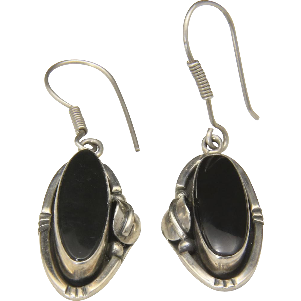 Vintage Taxco Modernist Sterling Silver Onyx French Wire Dangle Earrings Mexico