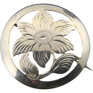 Vintage Art Deco Signed 835 Silver Round Flower Pin Brooch