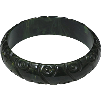 Vintage Dark Green Marble Carved Bakelite Bangle Bracelet