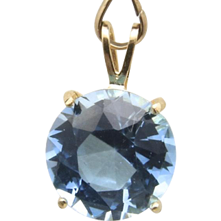 Vintage 14k Yellow Gold and Large Blue Topaz Four Prong Pendant