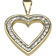 Vintage 10K Yellow Gold & Diamond Heart Necklace Pendant In Channel Setting Love