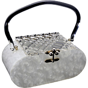 Vintage 1950s Acrylic Lucite White Pearlized Box Purse by Charles S Kahn Flordia