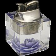 Vintage Mid Century 1950s Evans Lucite Refillable Table Lighter Purple Flower