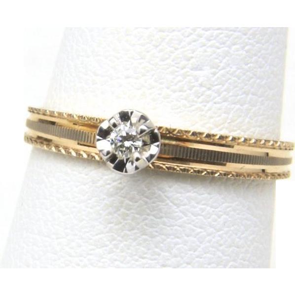 Vintage Dainty 10K Yellow Gold Diamond Wedding Ring Set Size 5.75