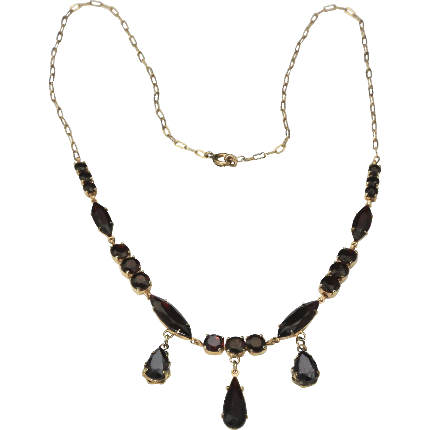 Vintage 12K Yellow Gold Multi-Stone Garnet Drop Necklace