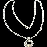 Vintage Sterling Silver & 10k Black Hills Gold Claddagh Pendant and Necklace