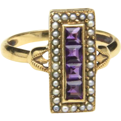 Vintage 14K Yellow Gold Amethyst and Mini Pearl Deco Art Nouveau Ring Size 5.75