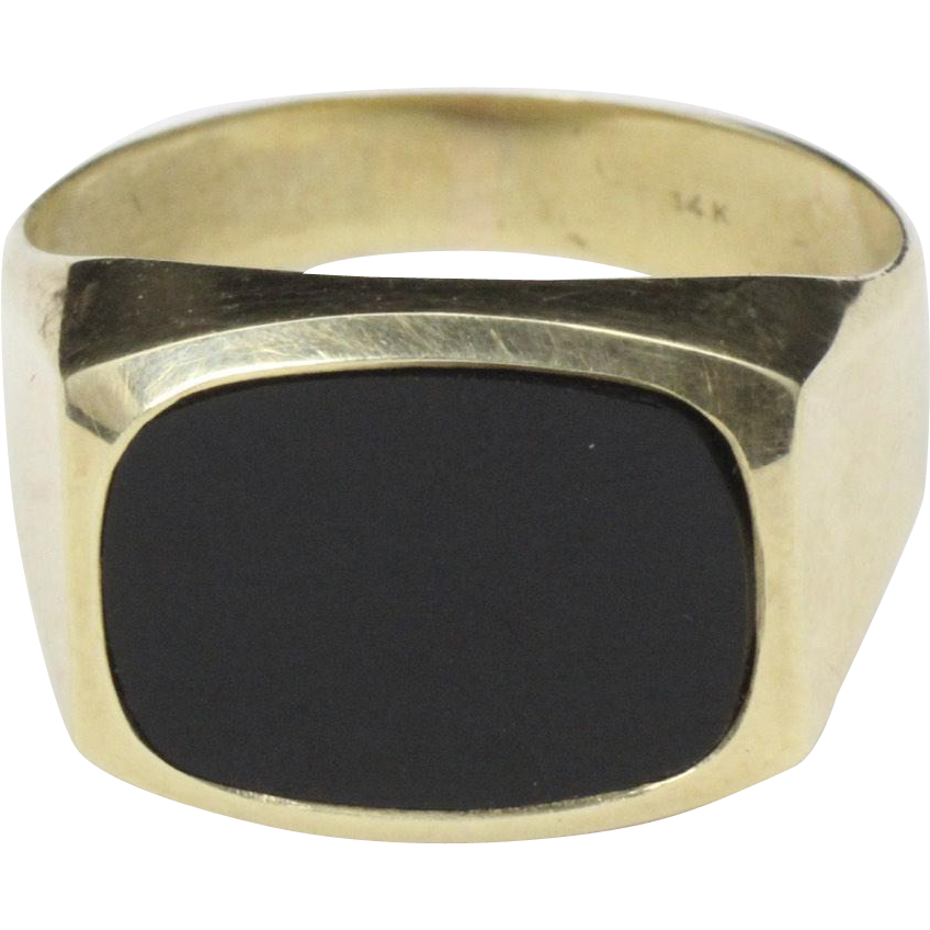 Vintage 14K Yellow Gold and Onyx Classic Mens Ring Size 9.25