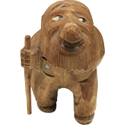Rare Vintage Anton Sveen Carved Wood Troll With Walking Stick Unpainted Norway