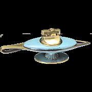 Vintage Sabra Israel Turquoise Enamel And Brass Aladdin's Lamp Table Lighter