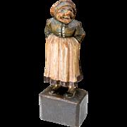 "Vintage Folk Art Hand Carved Wooden Scandinavian Statue Figure Old Woman Sasy 8"""