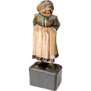 Vintage Folk Art Hand Carved Wooden Scandinavian Statue Figure Old Woman Sasy 8""