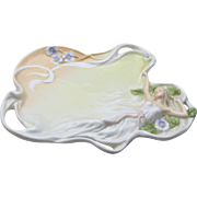 Vintage Unicorn Studio Reclining Woman Flowers Leaves Decorative Porcelain Tray