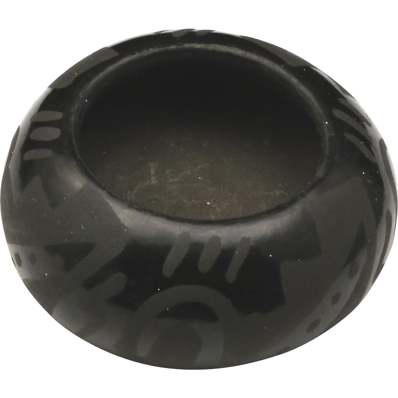 Vintage Small Polished Blackware Santa Clara Pueblo Pottery Bowl Signed
