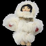 Vintage Alaska Inuit Eskimo Real Fur Collectible Folk Art Souvenir Doll