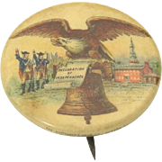 Antique 1896 Standard Biscuit Co Eagle Liberty Bell Advertising Pin Button