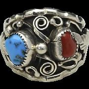 Vintage Sterling Silver Leaf Design Mens Turquoise Coral Ring Sz 12 Southwestern