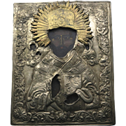 Antique 1800s Russian Icon Saint Nicholas the Wonderworker Silver Gilt Okland