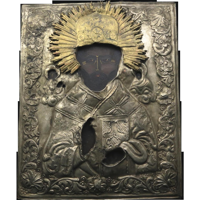 Antique 1800s Russian Icon Saint Nicholas the Wonderworker Silver Gilt Okland