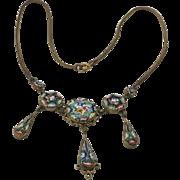 Vintage Italian Multi Color Glass Micro Mosaic Drop Necklace Flower Motif Ornate