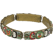 Vintage Italy Multi Color Glass Micro Mosaic Five Linked Panels Bracelet