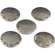 Vintage Navajo Silver Round Button Covers Set Five Southwestern Native American  (1 left)