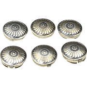Vintage Navajo Silver Round Button Covers Set Six Southwestern Native American