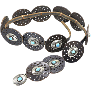 Vintage Native American Hopi Leather Sterling Turquoise Concho Belt Southwestern