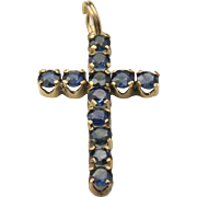 Vintage Dainty 10k Yellow Gold Blue Sapphire Cross Necklace Pendant Protection